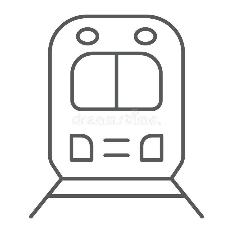 Linha fina ícone da viagem por estrada do trilho, transporte e estrada de ferro, sinal locomotivo, gráficos de vetor, um teste pa ilustração royalty free