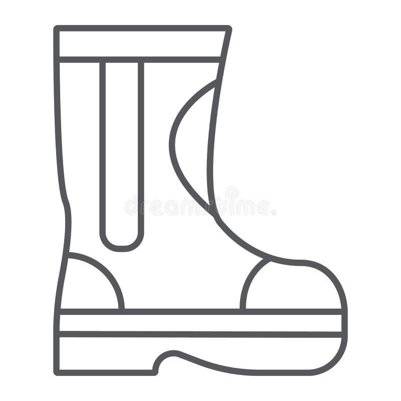 A linha fina ícone das botas de borracha do fogo, o bombeiro e a roupa, botas do sapador-bombeiro assinam, os gráficos de vetor,  ilustração royalty free