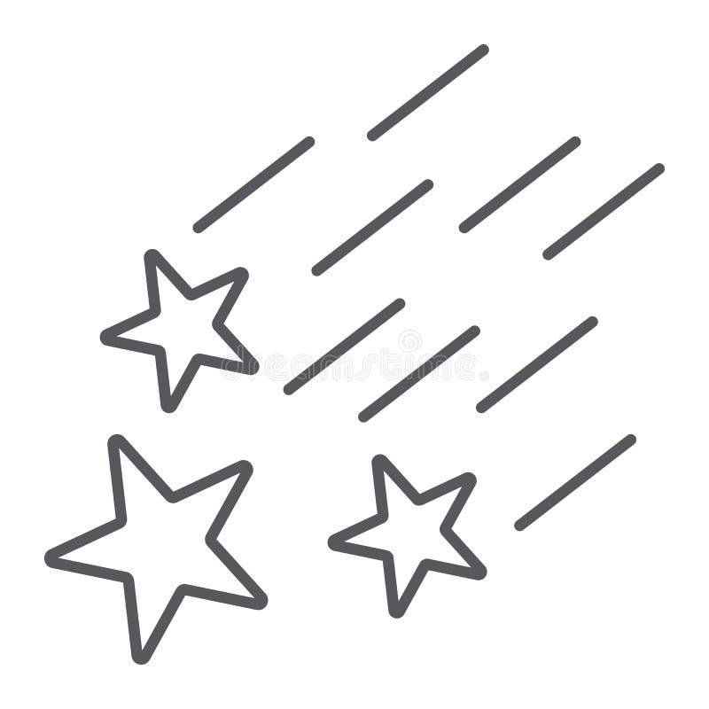 Linha fina ícone das estrelas de queda, noite e previsão, sinal das estrelas de tiro, gráficos de vetor, um teste padrão linear e ilustração royalty free