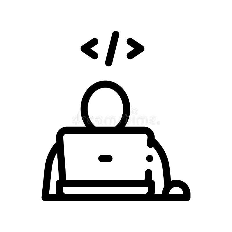 Linha fina ícone de Coding Laptop Vetora do programador ilustração stock