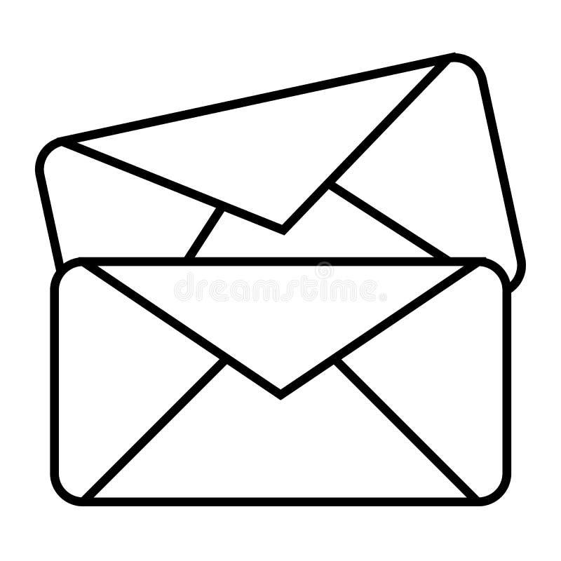 Linha fina ícone de dois envelopes Ilustração do vetor das letras isolada no branco Projeto do estilo do esboço do correio, proje ilustração do vetor