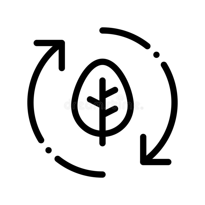 Linha fina ícone de Forest Leaves Tree Arrows Vetora ilustração do vetor