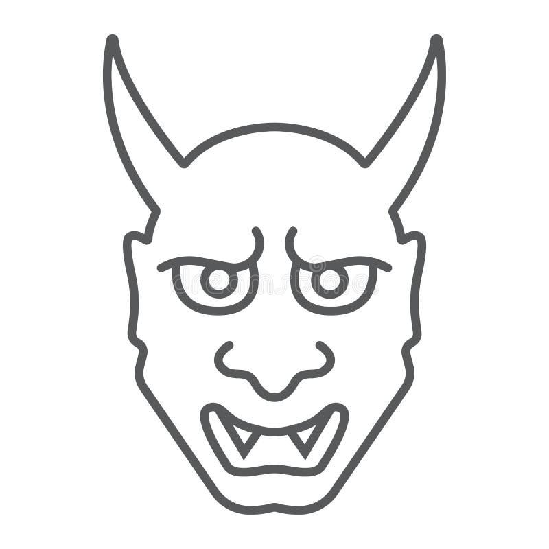 Linha fina ícone de Hannya, asiático e demônio, sinal japonês da máscara, gráficos de vetor, um teste padrão linear em um fundo b ilustração royalty free