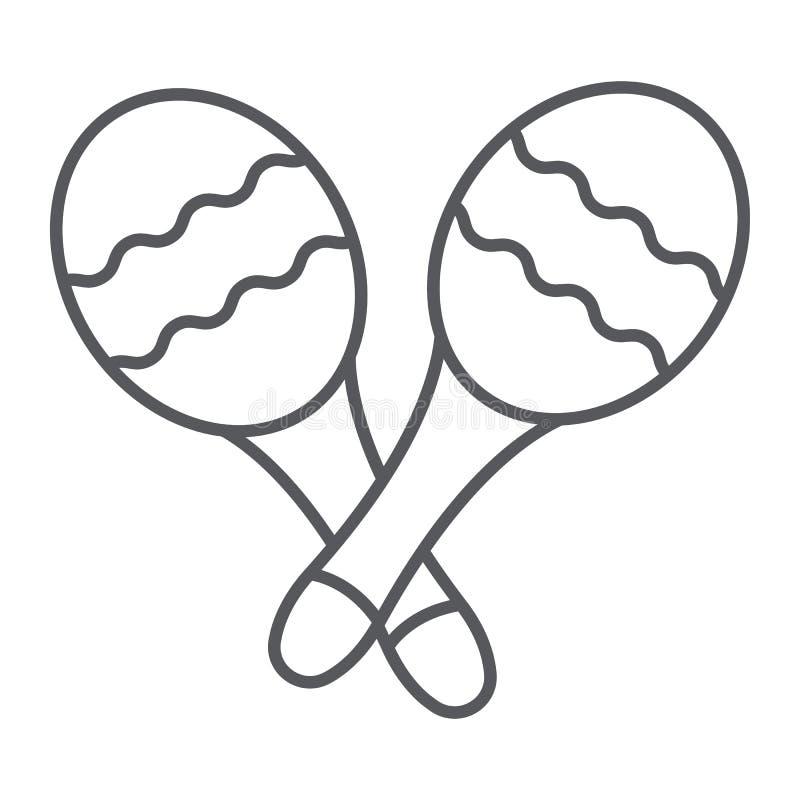Linha fina ícone de Maracas, música e percussão, sinal mexicano do instrumento musical, gráficos de vetor, um teste padrão linear ilustração do vetor
