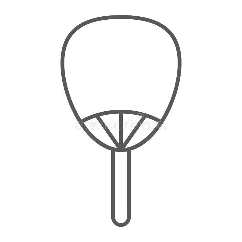 Linha fina ícone de Uchiwa, asiático e acessórios, sinal japonês do fã, gráficos de vetor, um teste padrão linear em um fundo bra ilustração do vetor