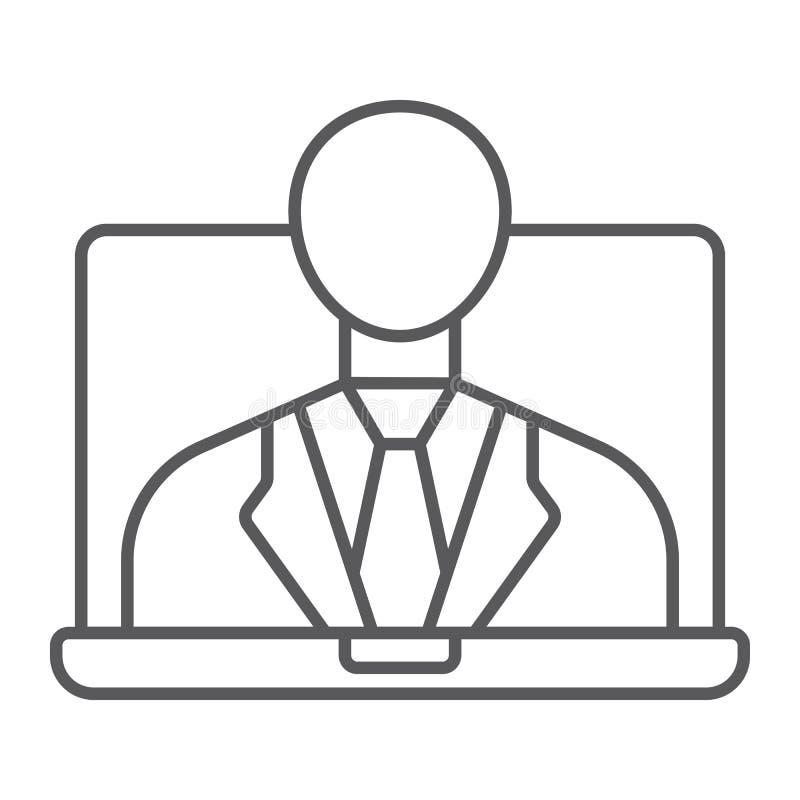 Linha fina ícone de Webinar, aprendizagem de e e educação ilustração royalty free