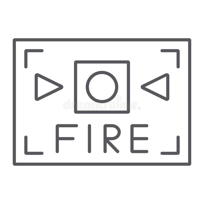Linha fina ícone do alarme de incêndio, segurança e equipamento, sinal alerta do fogo, gráficos de vetor, um teste padrão linear  ilustração do vetor