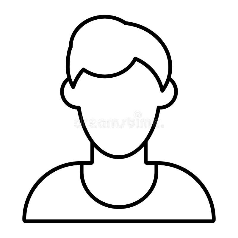Linha fina ícone do avatar sem cara do homem Ilustração do vetor do perfil de defeito isolada no branco Estilo masculino do esboç ilustração do vetor