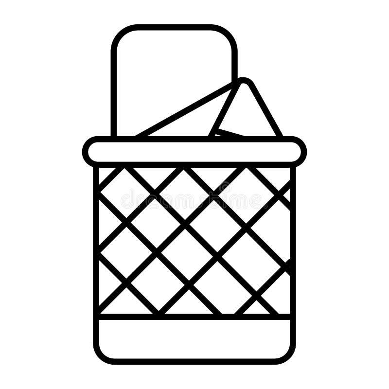 Linha fina ícone do balde do lixo completo Ilustração do vetor do escaninho isolada no branco Projeto do estilo do esboço da cest ilustração do vetor