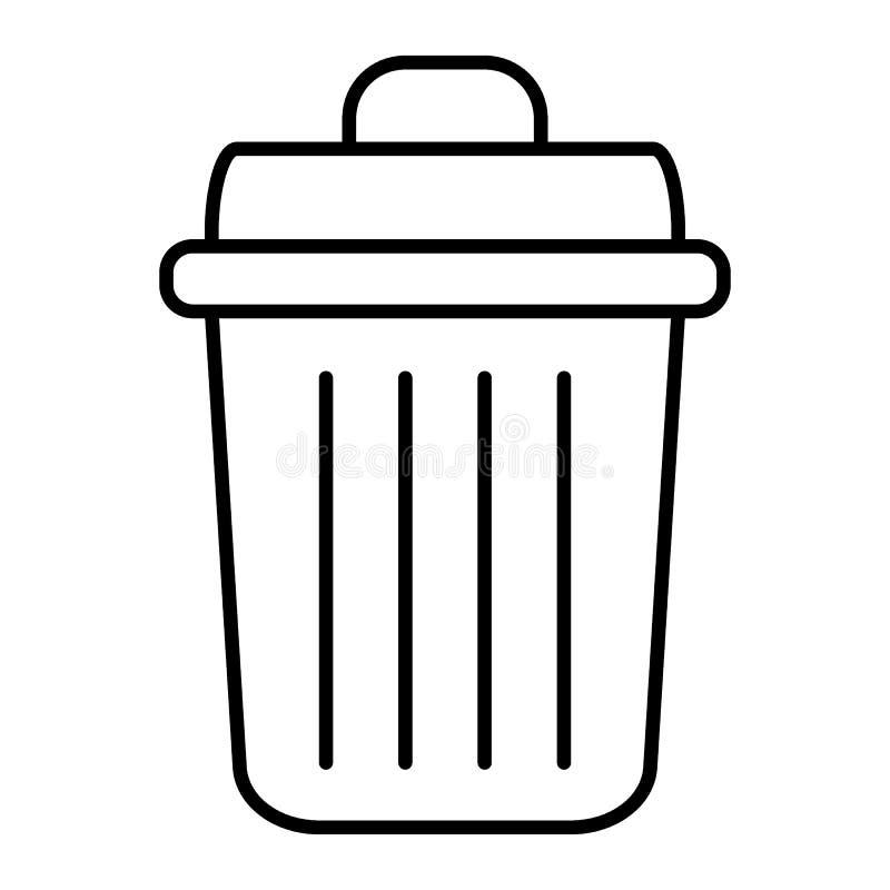 Linha fina ícone do balde do lixo Ilustração do vetor do escaninho isolada no branco Projeto do estilo do esboço da cubeta do lix ilustração do vetor