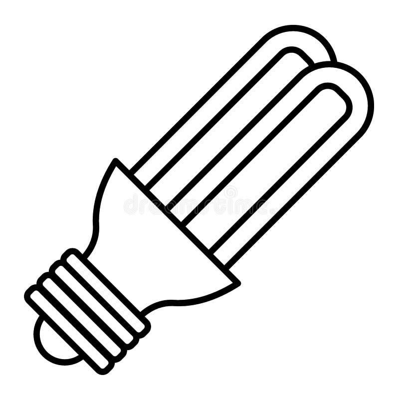 Linha fina ícone do bulbo de poupança de energia Ilustração econômica do vetor da lâmpada isolada no branco Estilo do esboço da l ilustração stock