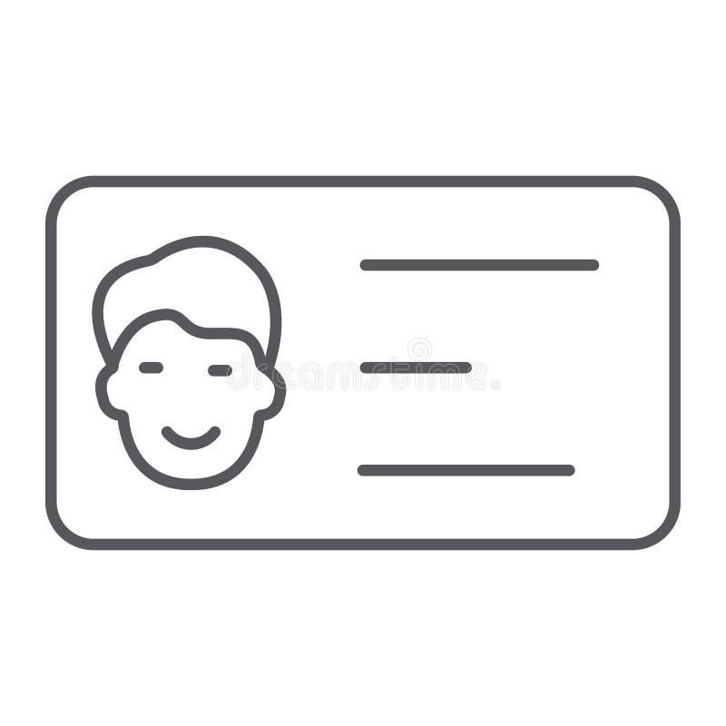 Linha fina ícone do cartão, contato e identidade, sinal do cartão da identificação, gráficos de vetor, um teste padrão linear em  ilustração stock