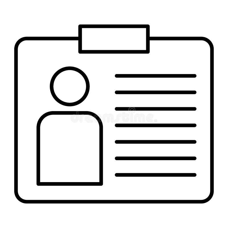 Linha fina ícone do cartão de identidade Ilustração do vetor do crachá isolada no branco Projeto do estilo do esboço da identific ilustração stock
