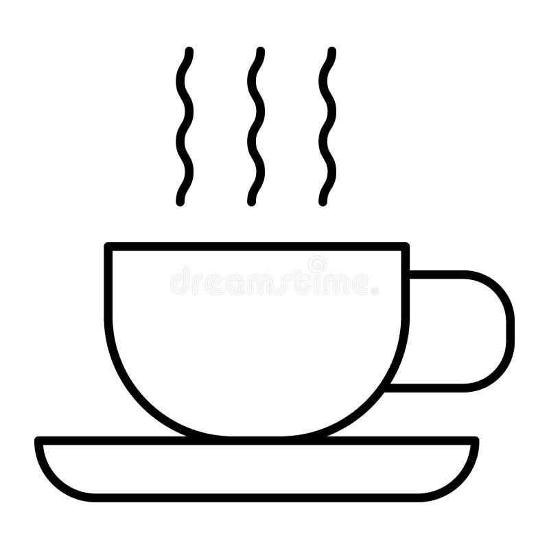 Linha fina ícone do chá quente Copo do chá na ilustração do vetor dos pires isolada no branco Caneca de projeto do estilo do esbo ilustração royalty free