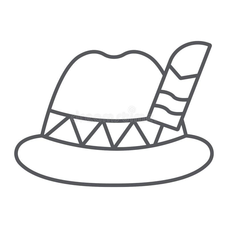 Linha fina ícone do chapéu de Oktoberfest, bávaro e tampão, sinal do chapéu do bavaria, gráficos de vetor, um teste padrão linear ilustração royalty free