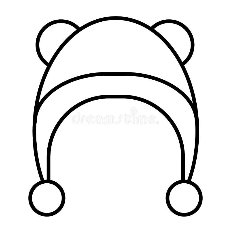 Linha fina ícone do chapéu do inverno Ilustração do vetor do chapéu do bebê isolada no branco Projeto do estilo do esboço da roup ilustração do vetor