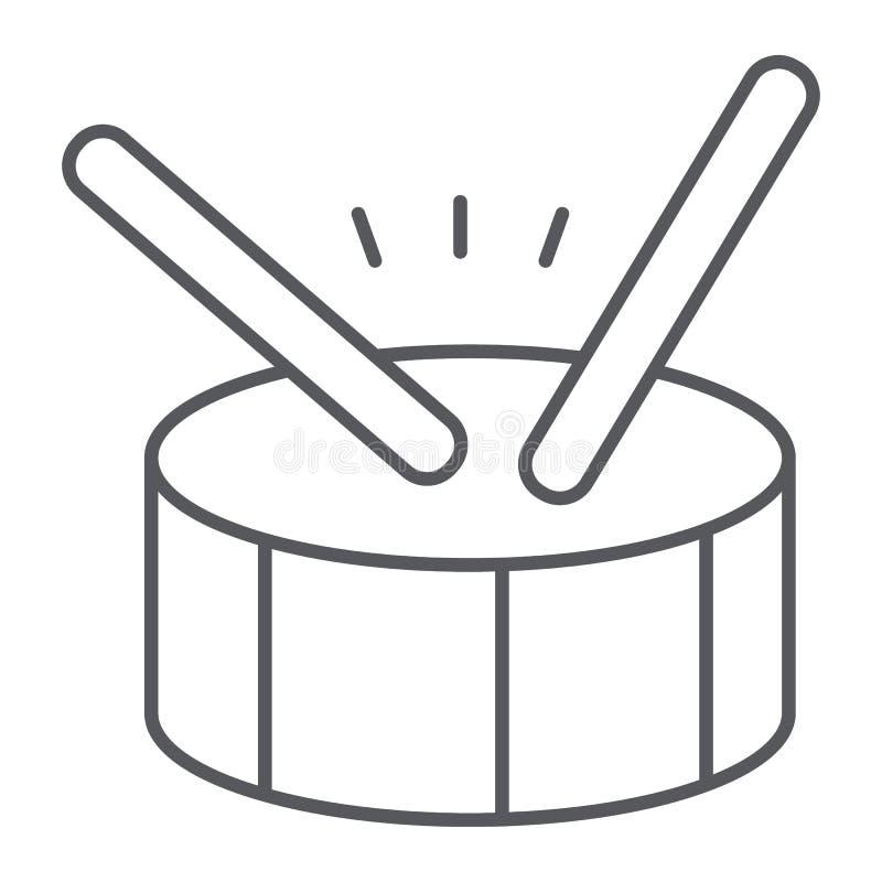 Linha fina ícone do cilindro, música e batida, sinal do instrumento de percussão, gráficos de vetor, um teste padrão linear em um ilustração stock