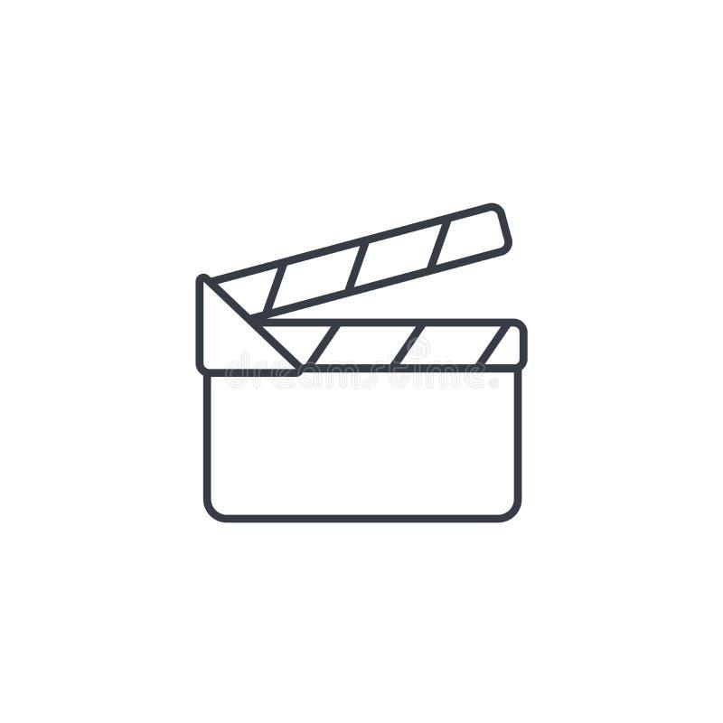 Linha fina ícone do clapperboard do filme Símbolo linear do vetor ilustração stock