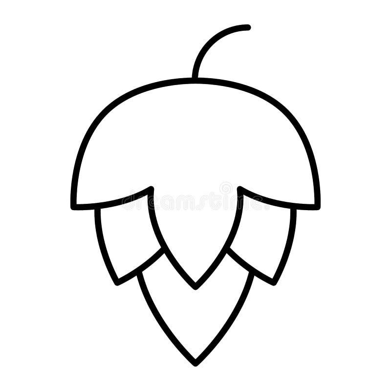 Linha fina ícone do cone de lúpulo Ilustração do vetor do lúpulo da cerveja isolada no branco Projeto do estilo do esboço da plan ilustração do vetor