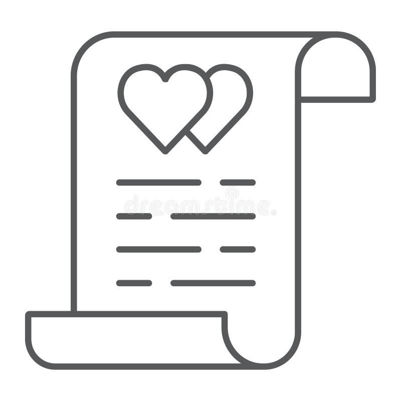 Linha fina ícone do contrato de união, documento e acordo, sinal do seguro da união, gráficos de vetor, um teste padrão linear so ilustração stock