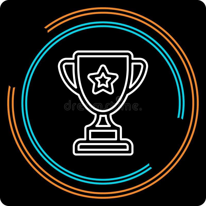 Linha fina ícone do copo simples do troféu do vetor ilustração do vetor
