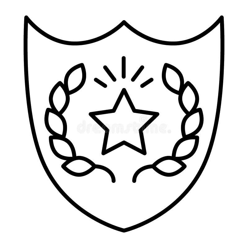 Linha fina ícone do crachá da polícia Ilustração do protetor isolada no branco Projeto do estilo do esboço do sinal da bobina, pr ilustração royalty free