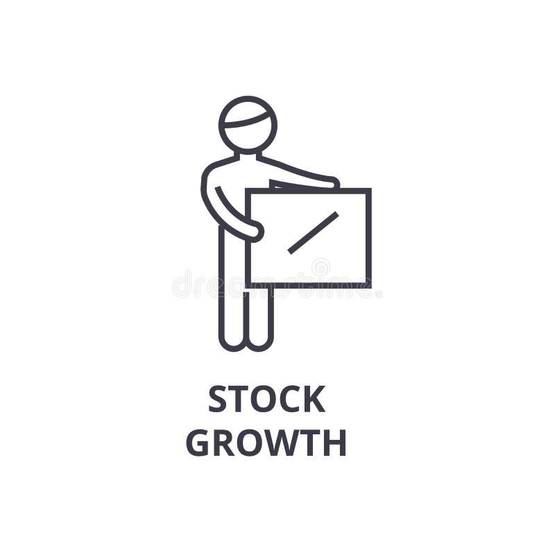 Linha fina ícone do crescimento conservado em estoque, sinal, símbolo, illustation, conceito linear, vetor ilustração stock