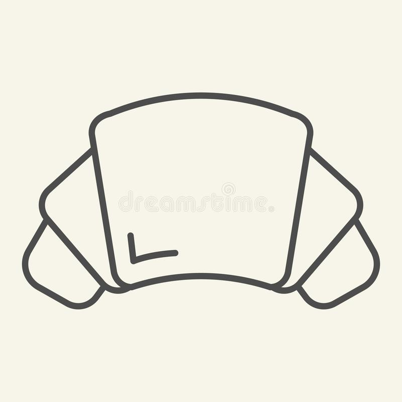 Linha fina ícone do croissant Ilustração do vetor da pastelaria isolada no branco Projeto do estilo do esboço dos doces, projetad ilustração stock
