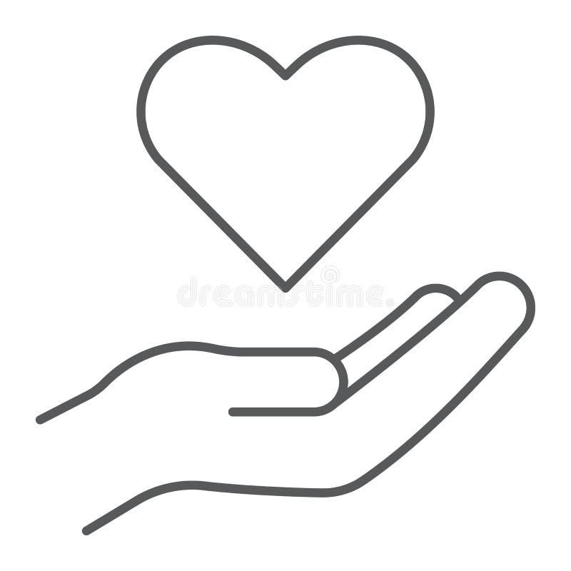Linha fina ícone do cuidado, família e amor, mão que guarda o sinal do coração, gráficos de vetor, um teste padrão linear em um f ilustração do vetor