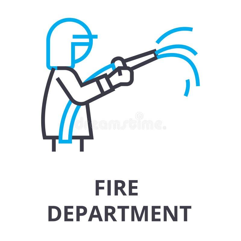 Linha fina ícone do departamento dos bombeiros, sinal, símbolo, illustation, conceito linear, vetor ilustração royalty free