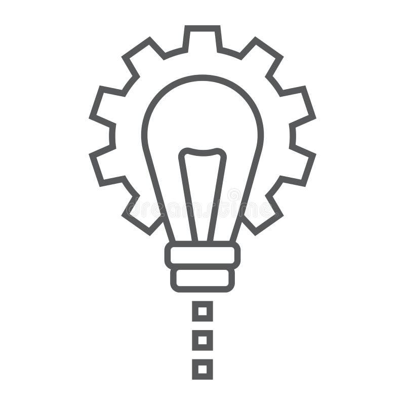 Linha fina ícone do desenvolvimento de produtos, desenvolvimento ilustração stock
