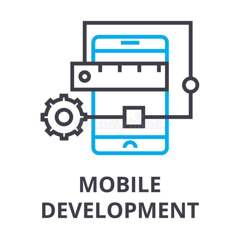 Linha fina ícone do desenvolvimento móvel, sinal, símbolo, illustation, conceito linear, vetor ilustração royalty free