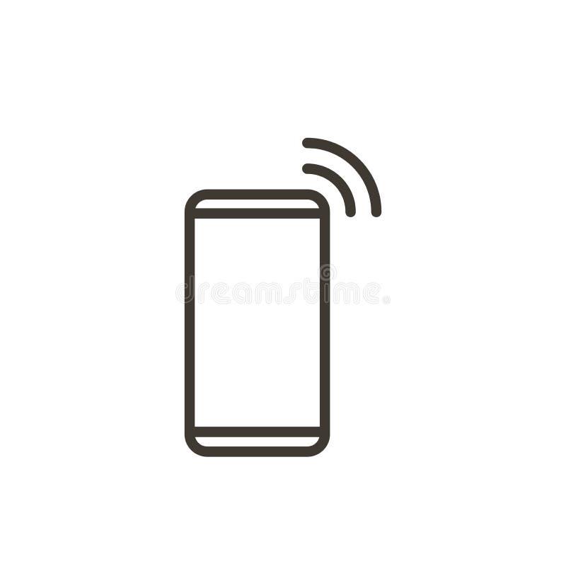 Linha fina ícone do dispositivo de Smartphone Ilustração para o telefone celular, chamadas do vetor, recebendo a mensagem ou o e- ilustração royalty free