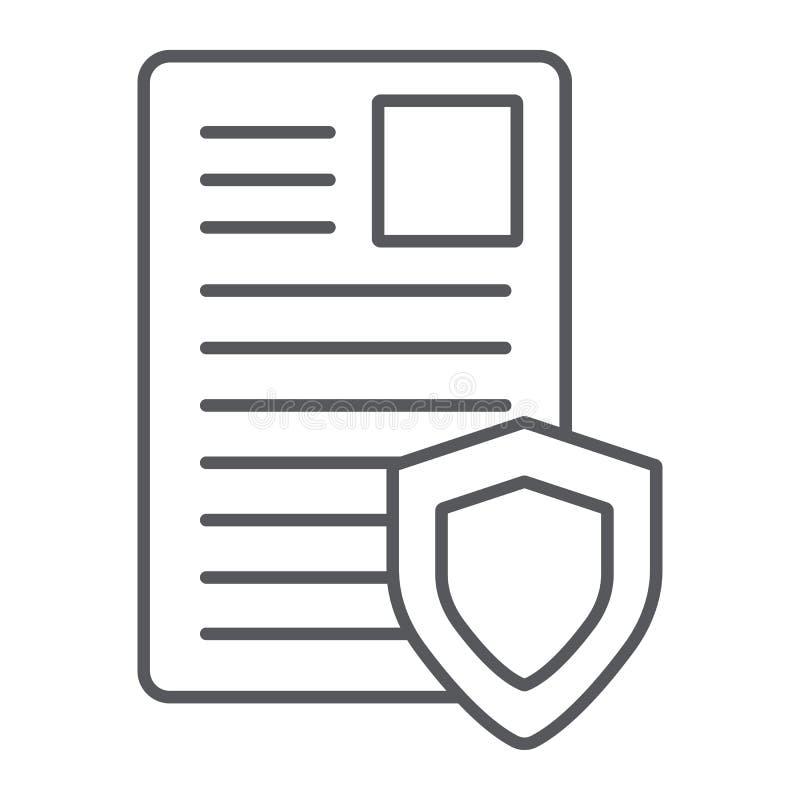 Linha fina ícone do documento da segurança, privacidade e papel, lista com sinal do protetor, gráficos de vetor, um teste padr ilustração stock