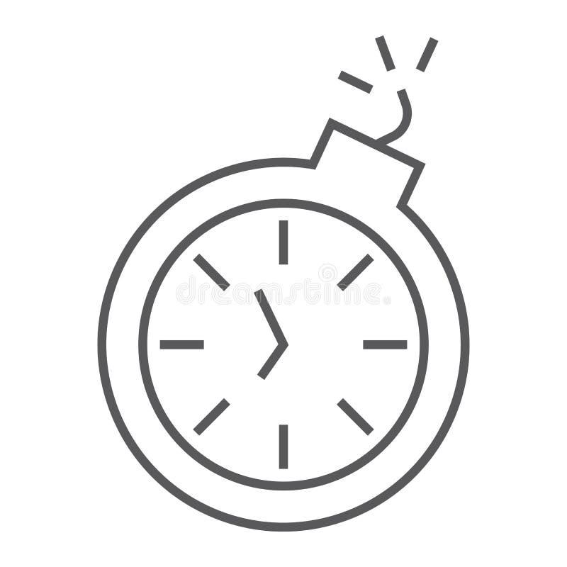Linha fina ícone do fim do prazo, tempo e pulso de disparo, sinal do cronômetro, gráficos de vetor, um teste padrão linear em um  ilustração stock