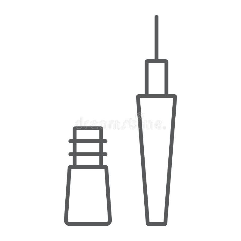 Linha fina ícone do lápis de olho, composição e cosmético, sinal do realçador do olho, gráficos de vetor, um teste padrão linear  ilustração do vetor