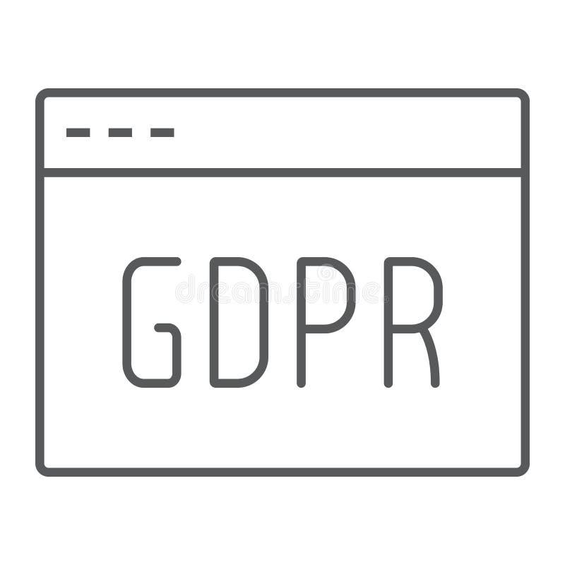 Linha fina ícone do local de Gdpr, Web page e Web site, sinal do navegador, gráficos de vetor, um teste padrão linear em um fu ilustração do vetor