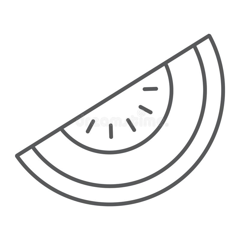 Linha fina ícone do melão, fruto e vitamina, sinal da dieta ilustração do vetor