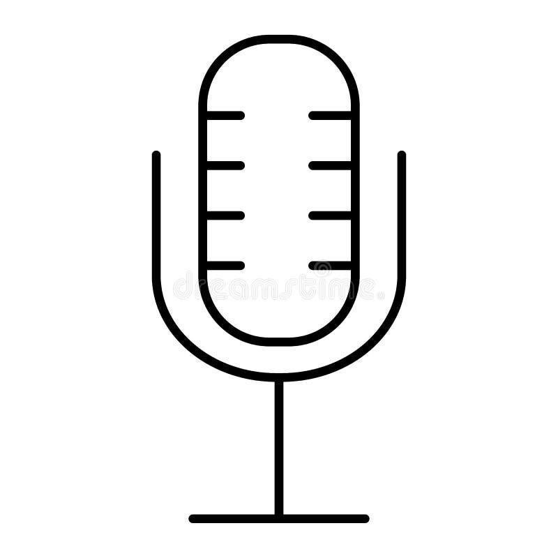 Linha fina ícone do microfone Ilustração retro do vetor do microfone isolada no branco Projeto do estilo do esboço do karaoke ilustração stock