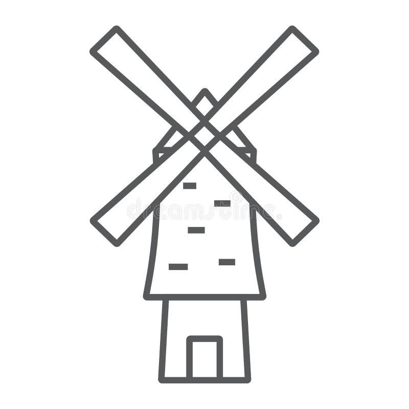 Linha fina ícone do moinho de vento, energia e vento, sinal do moinho, gráficos de vetor, um teste padrão linear em um fundo bran ilustração royalty free
