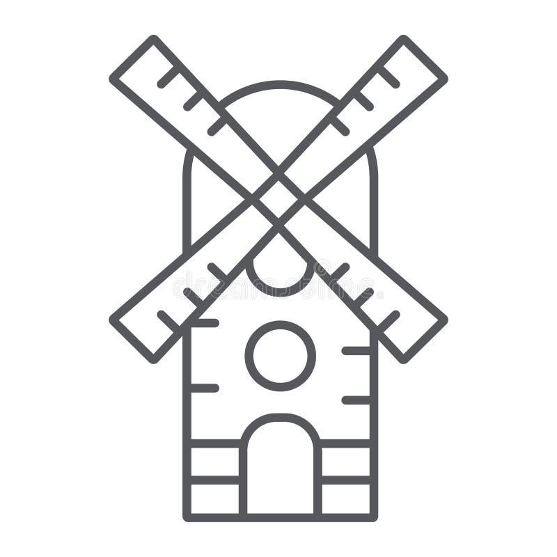 Linha fina ícone do moinho de vento, exploração agrícola e vento, sinal do moinho, gráficos de vetor, um teste padrão linear em u ilustração do vetor