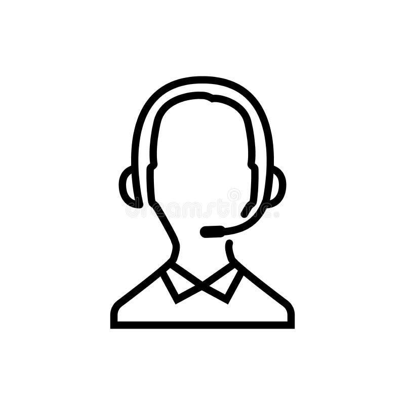 Linha fina ícone do operador de centro de atendimento Contacte o ícone, o homem com fones de ouvido e o microfone Esboço, editáve ilustração stock