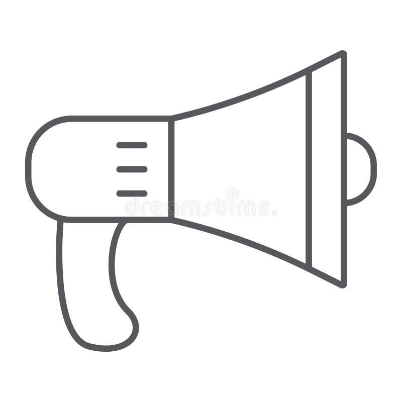 Linha fina ícone do orador, alto e anúncio, sinal do megafone, gráficos de vetor, um teste padrão linear em um fundo branco ilustração royalty free