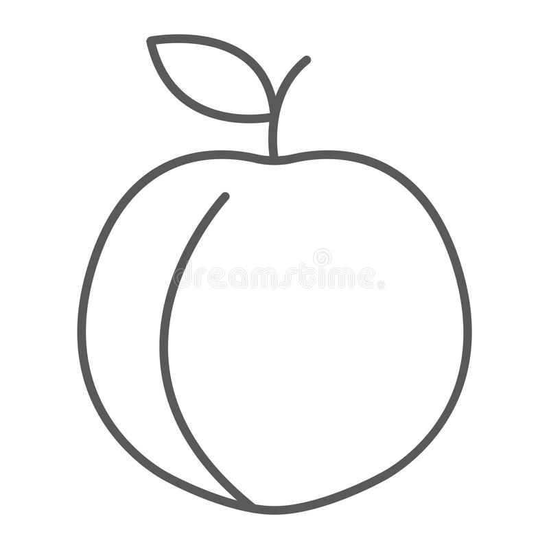 Linha fina ícone do pêssego, fruto e vitamina, abricó ilustração do vetor