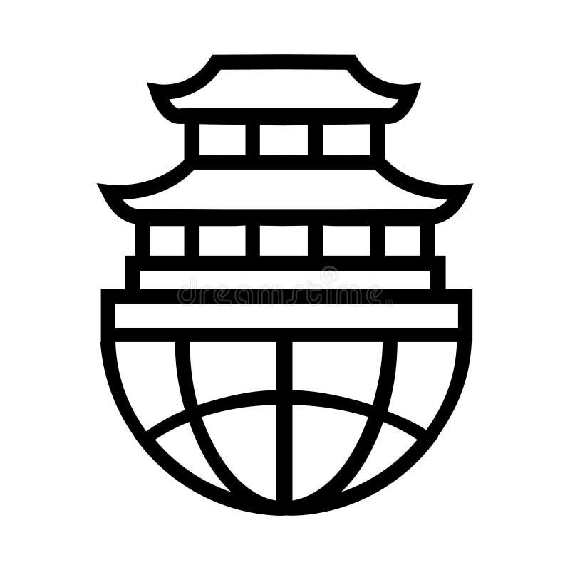 Linha fina ícone do palácio ilustração royalty free