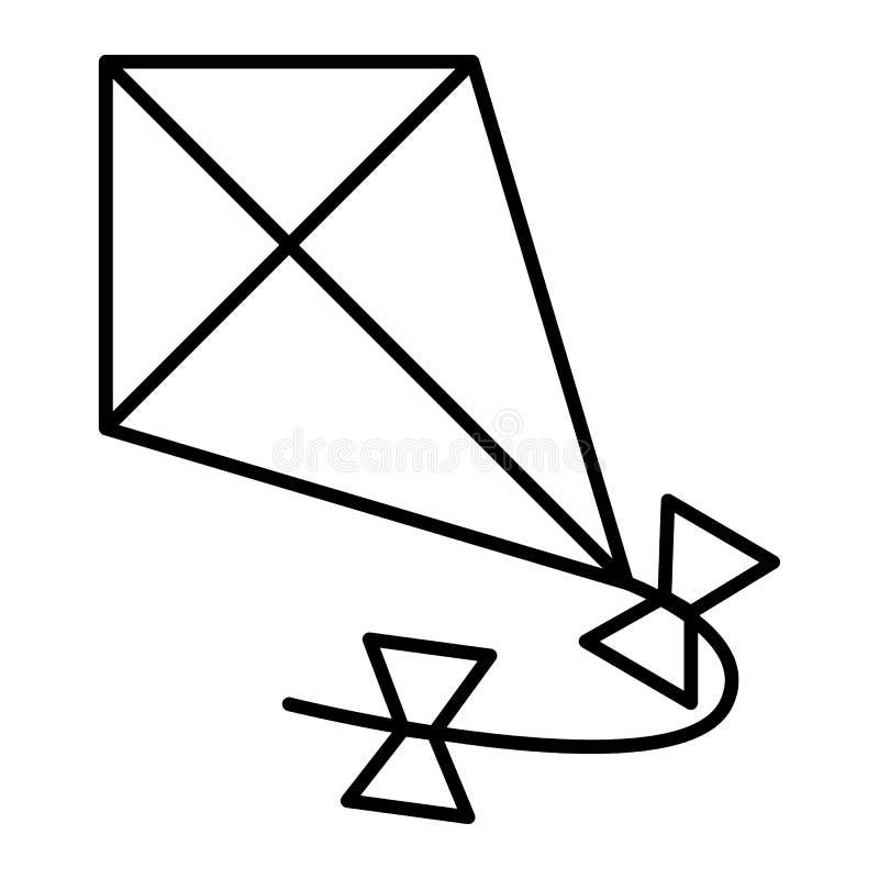 Linha fina ícone do papagaio Ilustração do vetor do papagaio do voo isolada no branco Papagaio no projeto do estilo do esboço do  ilustração royalty free