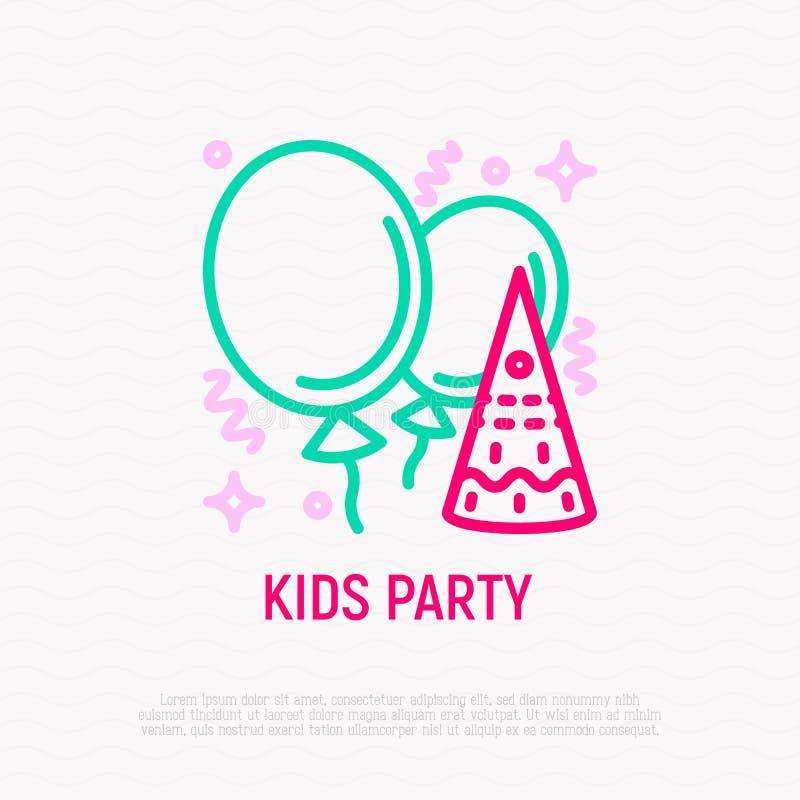 Linha fina ícone do partido das crianças: baloons, confetes ilustração do vetor