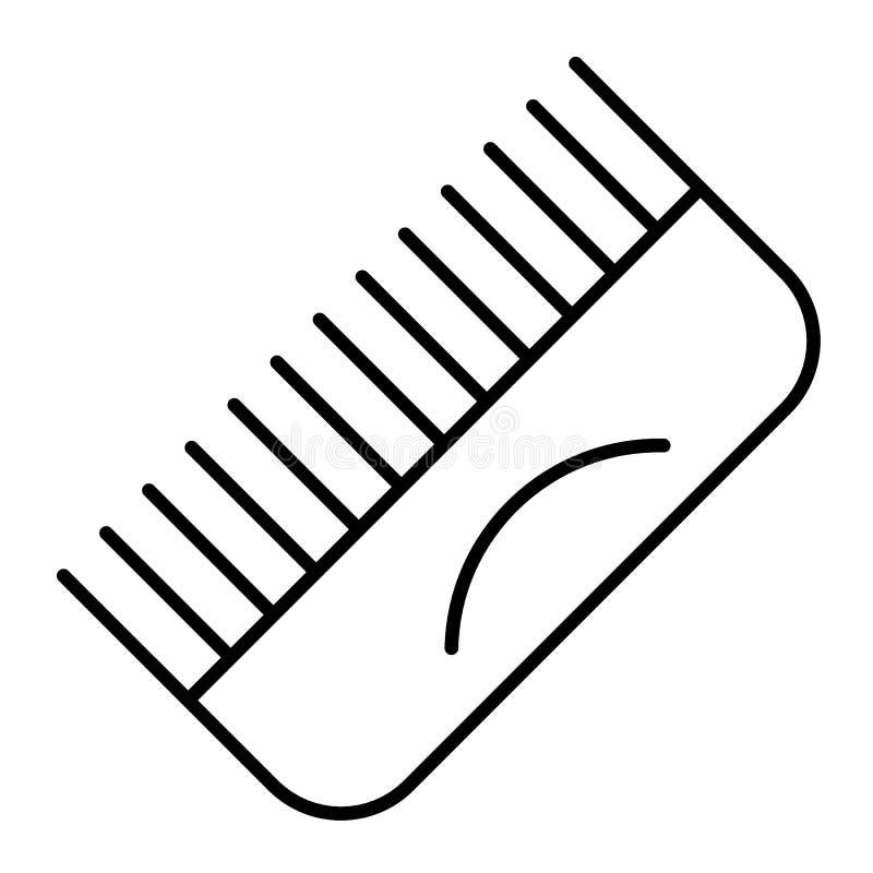 Linha fina ícone do pente Ilustração da escova isolada no branco Projeto do estilo do esboço do pente do cabelo, projetado para a ilustração stock