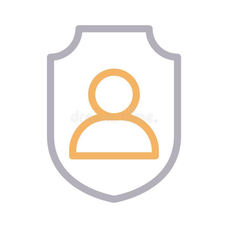 Linha fina ícone do perfil seguro do vetor da cor ilustração stock