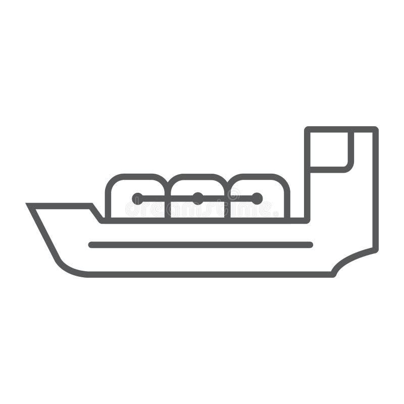 Linha fina ícone do petroleiro, barco e navio, sinal da embarcação, gráficos de vetor, um teste padrão linear em um fundo branco ilustração do vetor